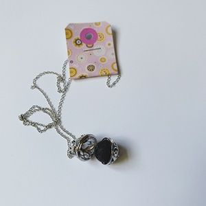 Silver Charm Locket with Lava Bead!! Aromatherapy!
